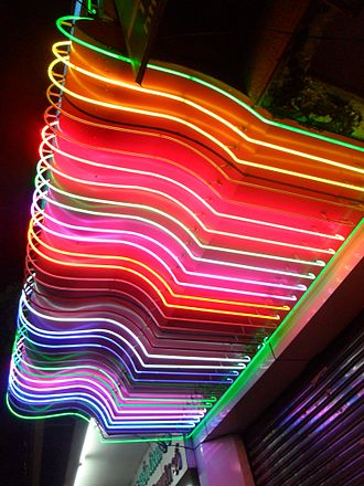 Neon sign - An enormous number of colors can be created by combinations of different gases and fluorescent coatings in the tube.