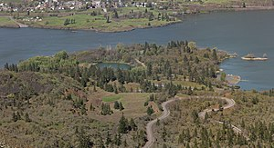 Mayer State Park - The lower portion of the park includes a small lake, boat ramp, and the Rowena Loops of the Historic Columbia River Highway.
