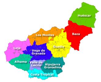 Comarcas of Spain - Comarcas of Granada