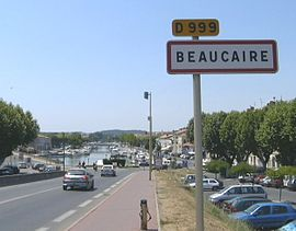 View down into Beaucaire and the marina from the bridge leading to Tarascon