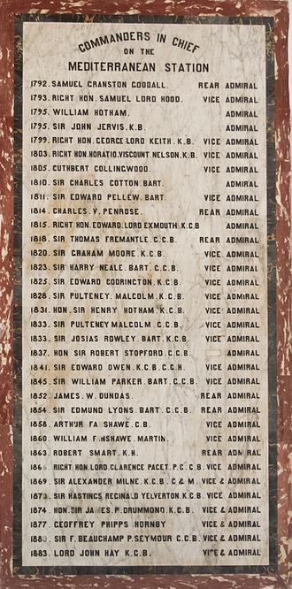 Mediterranean Fleet - Commanders-in-chief on the Mediterranean Station 1792–1883