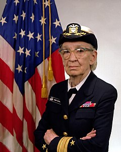 Grace M. Hopper was a pioneer in computer science. She invented the first compiler and had significant involvement in the development of COBOL. While not aesthetically outstanding, the photo has historic value.