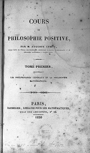 Caroline Massin - The first volume of the Cours de philosophie positive, published in 1830