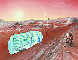 Colonization of Mars - An artist's conception of a human Mars base, with a cutaway revealing an interior horticultural area