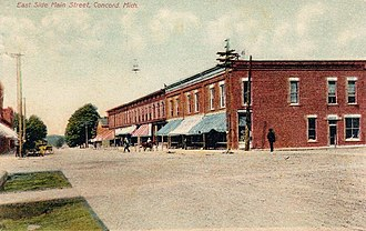 Concord Village Historic District (Concord, Michigan) - East side of Main Street, looking north from Hanover, c. 1909