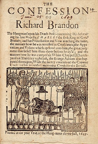 Execution of Charles I - The title page of The Confession of Richard Brandon, a 1649 pamphlet claiming to reveal Richard Brandon as Charles I's executioner.
