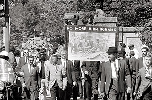 All Souls Church, Unitarian (Washington, D.C.) - Members of All Souls Church, Unitarian marching in memory of the 16th Street Baptist Church bombing victims. September 1963.
