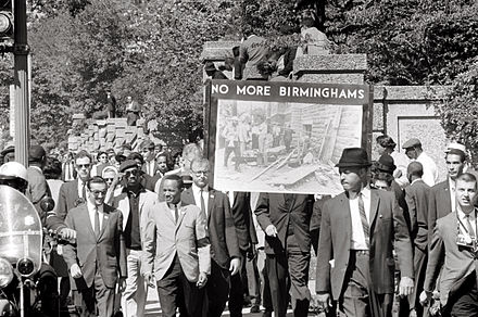 Congress of Racial Equality march in Washington D.C. on September 22, 1963, in memory of the children killed in the Birmingham bombings Congress of Racial Equality and members of the All Souls Church, Unitarian march in memory of the 16th Street Baptist Church bombing victims.jpg