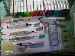 The Copic system including markers and the airbrush.