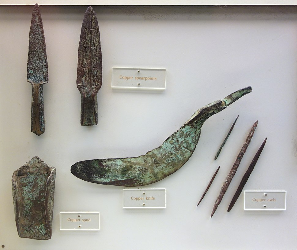 Copper knife, spearpoints, awls, and spud, Late Archaic period, Wisconsin, 3000 BC-1000 BC - Wisconsin Historical Museum - DSC03436