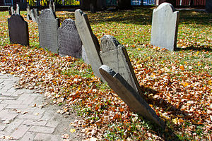 Copp's Hill Burying Ground - Several headstones from 18th and 19th century in the cemetery.