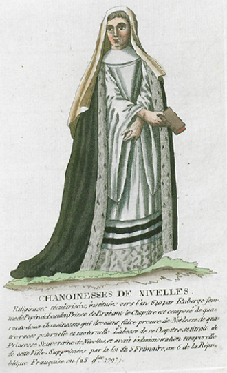 Canoness - Noble Canonnesse of Nivelles in choir dress with ermine.