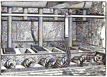 artist's rendition of several smelters in operation in England