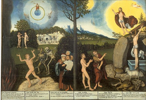 Law and Gospel, c. 1529 by Lucas Cranach the Elder, a Lutheran. The left side of the tree illustrates law, while the right side illustrates grace. Cranach Gesetz und Gnade Gotha.jpg