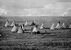 Cree - Nēhiyaw camp near Vermilion, Alberta, in 1871