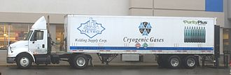 Cryogenics - Cryogenic gases delivery truck at a supermarket, Ypsilanti, Michigan