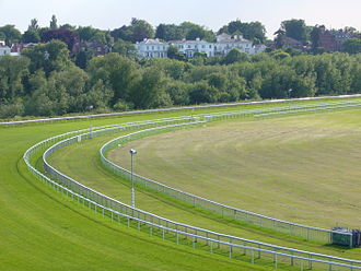 Chester Racecourse - View across the Roodee to Curzon Park on the South bank of the River Dee.