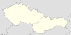 """Mapa konturowa Czechosłowacji, blisko centrum u góry znajduje się punkt z opisem """"Przejście granicznePietraszyn–Sudice"""""""