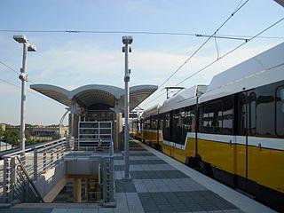 Southwestern Medical District/Parkland station DART light rail station in Dallas, Texas