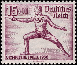 Fencing at the 1936 Summer Olympics - Fencing at the 1936 Summer Olympics on a German stamp