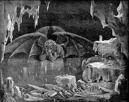 High resolution scan of engraving by Gustave Doré illustrating Canto XXXIV of Divine Comedy, Inferno, by Dante Alighieri. Caption: Lucifer, King of Hell