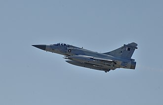Qatar Armed Forces - Qatari Dassault Mirage 2000 fighter jet flying over Libya during Military intervention
