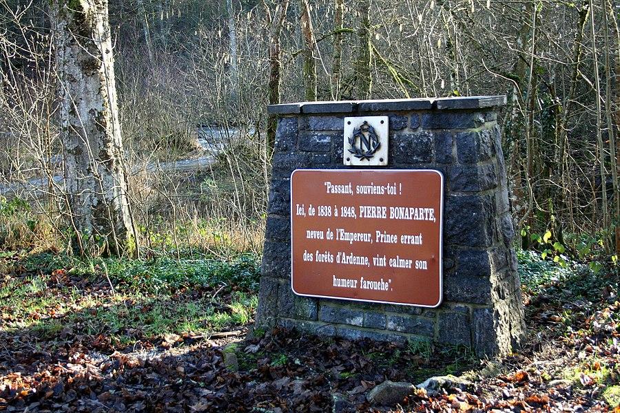 Daverdisse  (Belgium), memorial plate dedicated to the prince Pierre Bonaparte.