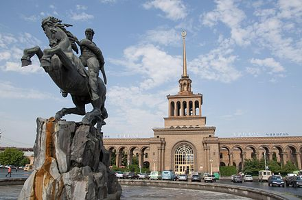 Yerevan railway station, with the statue of David of Sassoun