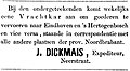 De Roermondenaar vol 001 no 001 advertisement J. Dickmais.jpg