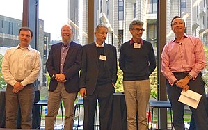 Geoffrey Hinton - From left to right Russ Salakhutdinov, Richard S. Sutton, Geoffrey Hinton, Yoshua Bengio and Steve Jurvetson in 2016