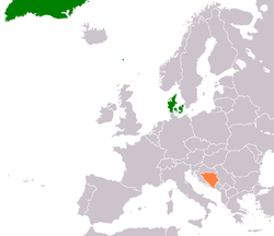 Map indicating locations of Denmark and Bosnia and Herzegovina