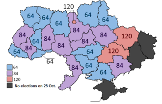 Ukrainian local elections, 2015 - The number of deputies elected to regional councils varies by population; the lowest is 64, while the highest is 120.