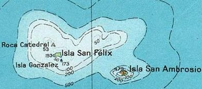 Map of Desventuradas Islands, also known as San Félix Islands