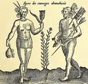 Massachusett - Depiction of the Almouchicois Indians—the French term for the Massachusett-speaking peoples of southern New England by the explorer Samuel de Champlain.  Champlain visited villages on islands in Boston Harbor and anchored offshore Shawmut during his exploration in 1605.