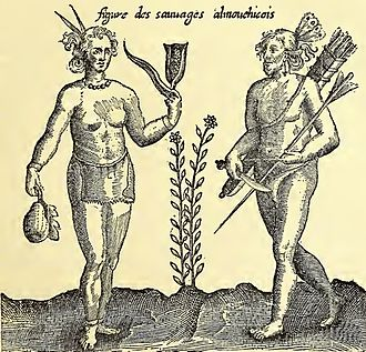 Squanto - 1612 engraving of Champlain's drawing of Southern New England Algonquian Natives emphasizing their pacific nature and sedentary and agricultural lifestyle.