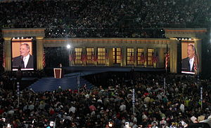Dick Durbin - Durbin speaks during the final night of the 2008 Democratic National Convention in Denver, Colorado, introducing his party's nominee, fellow Illinoisan Barack Obama