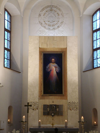 Faustina Kowalska - The first Divine Mercy painting by Kazimierowski (1934) at the Divine Mercy Sanctuary (Vilnius)