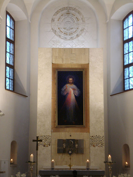 The first Divine Mercy painting by Kazimierowski (1934) at the Divine Mercy Sanctuary (Vilnius) Divine Mercy Sanctuary in Vilnius4.JPG