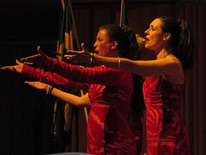 Singing - A trio of female singers performing at the Berwald Hall in 2016.