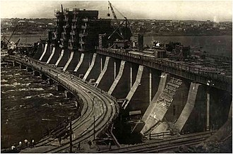 Modern history of Ukraine - A 1934 photo of the DnieproGES hydropower plant, a heavyweight of Soviet industrialization in Ukraine.