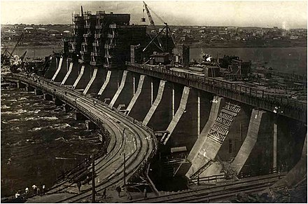 The Dnieper Hydroelectric Station under construction, around 1930 DneproGES.jpg