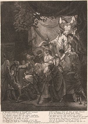 Matthijs Pool - Initiation ceremony of a Bentvueghel, by Domenicus van Wijnen, ca. 1700, engraved by Matthijs Pool with a rhyme at the bottom about the initiation.