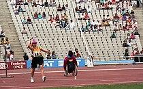 Donna Smith throwing javelin, Barcelona 1992 Paralympics.jpg