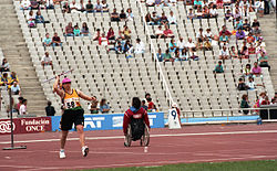 Donna Smith throwing javelin, Barcelona 1992 Paralympics.jpg