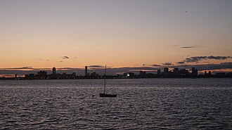 Dorchester Bay (Boston Harbor) - Looking northwest from Quincy toward Boston across Dorchester Bay