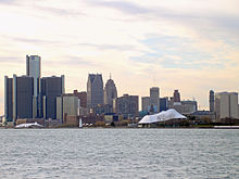 View of the state park from across the Detroit River