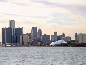 Renaissance Center - A view of the Detroit International Riverfront from Belle Isle.