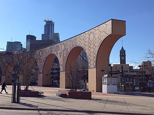 U.S. Bank Stadium (Metro Transit station) -  Public art at the station features a set of large arches by Andrew Leicester and Jane Zweig