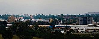 Newcastle, KwaZulu-Natal - Image: Downtown Newcastle City Skyline from Fort Amiel Museum