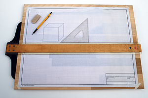T-square - Drafting board with a T-square and triangle